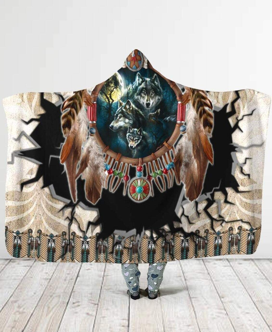 Personalized Wolf Nippon regular agency Hooded Blanket Wearable Soft 5 popular Warm Lined Plush
