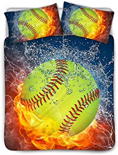UNICEU Burning and Water Softball Ball Printed Bedspread for Kids Bedroom 3 Pcs Bedding Set Inclueds 1 Quilt Cover + 2 Pillowcase (Twin, Beige)