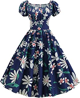 Fankle Women's Dress Ladies Vintage 1950s Floral Print Short Sleeve Swing Dress Retro A-Line High Waist Flare Pleated Prom...