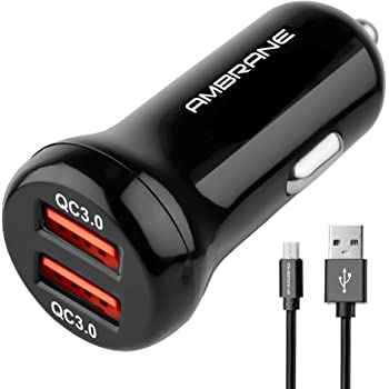 Ambrane 6.0 Amp Dual USB Car Charger (Qualcomm Certified) with Quick Charge 3.0 + Free Micro USB Cable (ACC29QCM, Black)