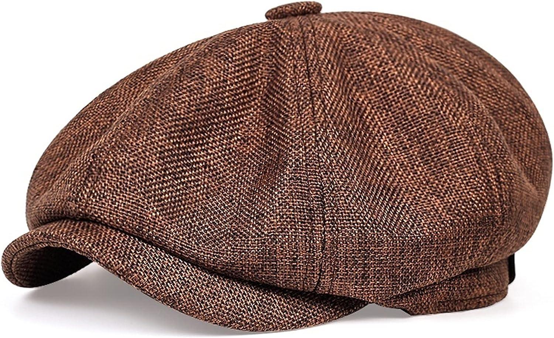 WAITAO Newsboy Hats, Men Flat Cap Spring and Autumn Thin Retro Beret Hat Unisex (Color : Brown, Hat Size : 59 61CM)