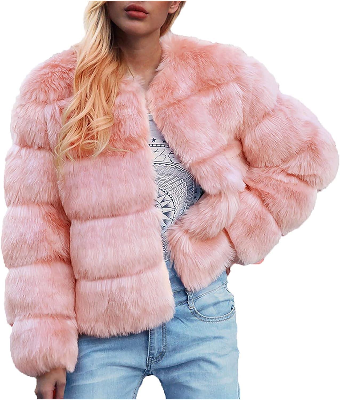 Women's Faux Fur Coat Elegant Winter Jacket Warm Short Coat Casu