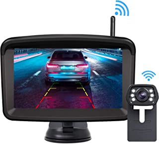Xroose Wireless Backup Camera and Monitor Kit 5 HD Screen License Plate Camera with Frame IP69K Waterproof Rear View Camera with Parking Lines 152° Viewing Angle …