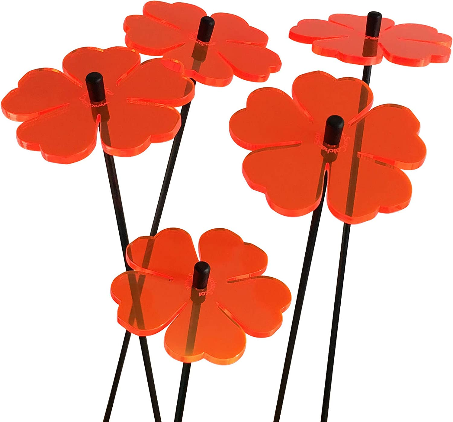 Garden Ornaments Double Blossom, Set of 5 Small Decorative Garden Stakes, Outdoor Yard Accessory, Great Gardeners Gift, Colour:Red : Patio, Lawn & Garden