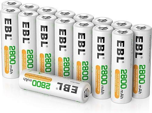 EBL 16PCS Piles AA Rechargeables 2800mAh 1,2V Ni-MH, Longue Durée avec Boîte de Stockage
