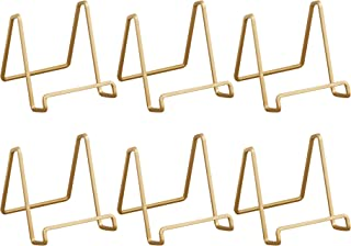 Metal Square Wire Easel, Decorative Plate Holder, Book Display Stand, Set of 6, Gold Color, Medium Sized, 4-inch