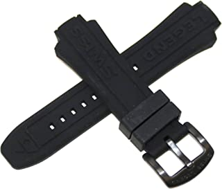 Swiss Legend 19MM Black Silicone Band Strap & Black Stainless Buckle fits 53mm Neptune Watch