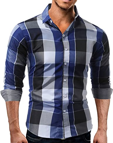 JiaMeng Camisetas de Manga Larga Manga Larga Hombre Camisa de Vestir de Corte Slim sólida Formal Informal
