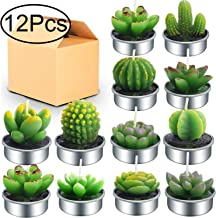 Outee 12 Pcs Cactus Tealight Candles Handmade Delicate Succulent Cactus Candles Flameless Aromatherapy 12 Designs for for Birthday Party Wedding Spa