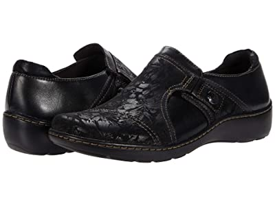 Clarks Cora Poppy (Black Textile/Leather Combination) Women