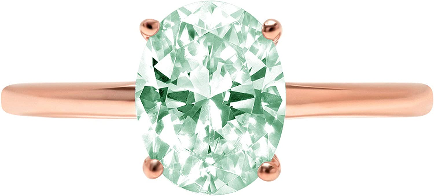 2.45ct Brilliant Oval Cut Solitaire Turquoise Green Simulated Diamond CZ Ideal VVS1 D 4-Prong Classic Designer Statement Ring Solid Real 14k Rose Gold for Women