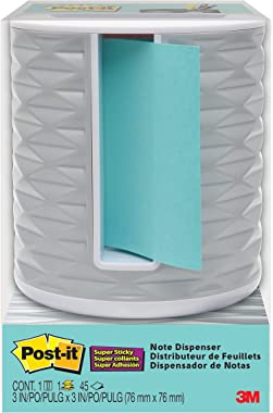 Post-it Note Dispenser, 3x3 in, Vertical, White with Grey, Pack Includes Dispenser and a 45-Sheet Pad of Pop-up Notes (ABS-33
