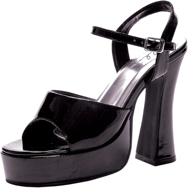 Ellie shoes E-557-LEA 5  Chunky Heel Sandal. 7 Black