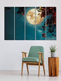 999Store wall paintings big size painting for living room Glowing Moon and red flowers vine wall art panels hanging painti...