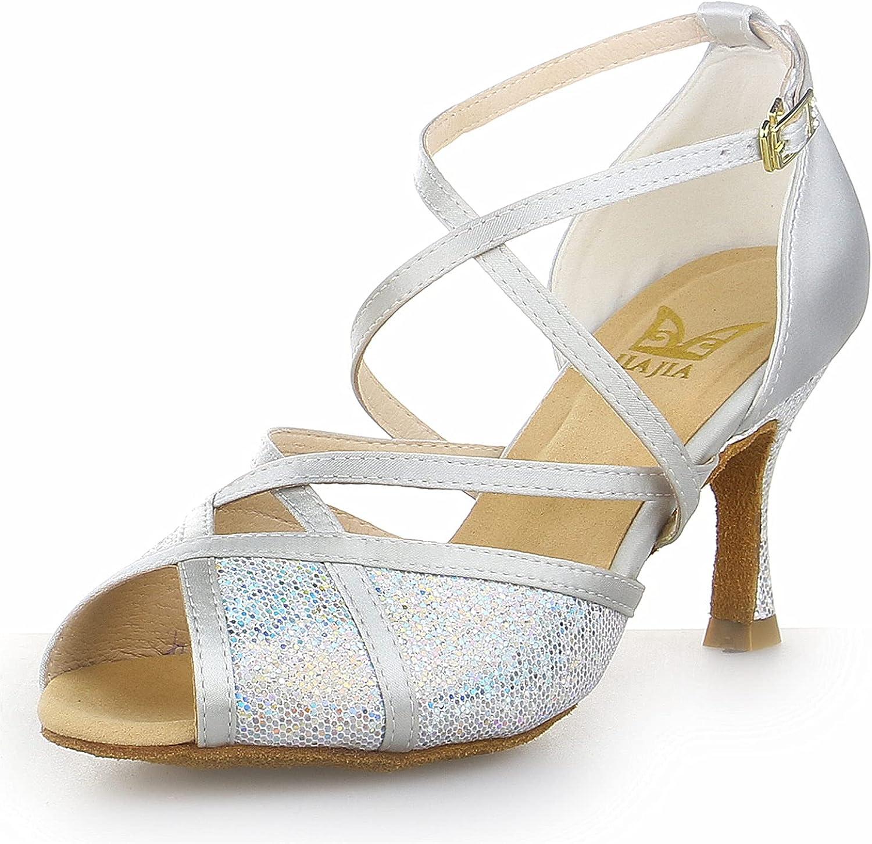 JIAJIA Y20514 Women's 新色追加 Satin Sandals 出群 Latin Flared Heel Salsa Perf