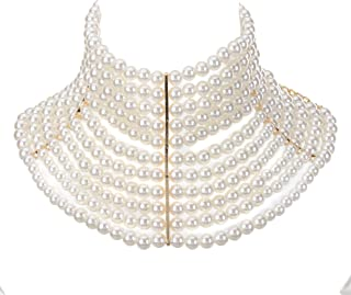 Chunky Statement Necklace, Simulated Pearls Bib Necklace Costume Novelty Fashion Jewelry