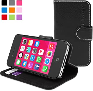 iPhone 4 Case, Snugg Black Leather Flip Case [Card Slots] Executive Apple iPhone 4 Wallet Case Cover and Stand - Legacy Series