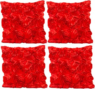 JOTOM Throw Pillow Covers for Sofa Bed Cushion, 3D Solid Color Silks Satins Rose Flower Romantic Love Cushion Covers for Wedding Party Home Decor Set of 4, 18'' x 18'' (Red)