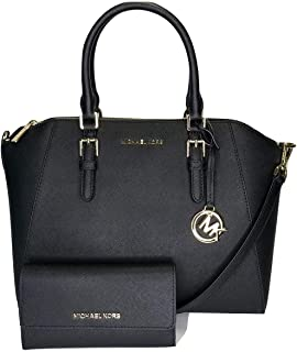MICHAEL Michael Kors Ciara Large TZ Satchel bundled with Michael Kors Jet Set Travel Large Trifold Wallet (Black)