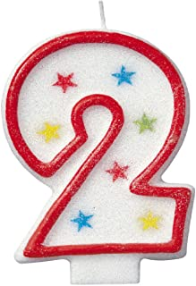 Glitter Number 2 Birthday Candle & Happy Birthday Cake Topper