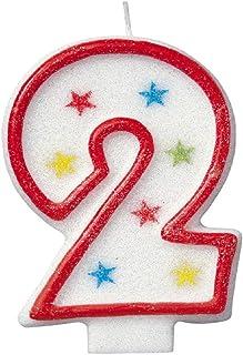 Unique Party - 37312 - Bougie à Paillettes d'Anniversaire Numéro 2 et Décoration pour Gâteau - Happy Birthday