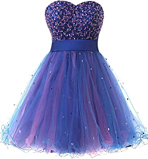 Sarah's Bridal Women's Tulle Sequin Short Prom Gown