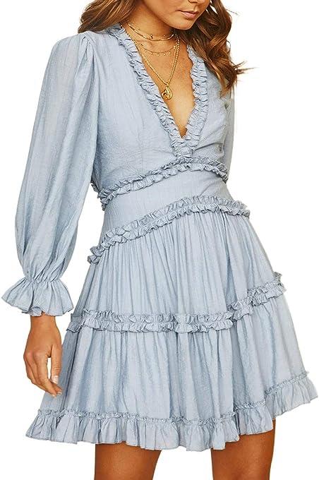 Dokotoo Womens Spring Summer Deep V Neck Ruffle Long Sleeve Floral Print Mini Dress