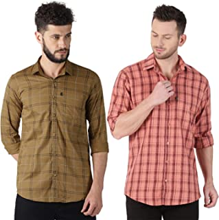 LEVIZO 100% Cotton Checkered Casual Classic Regular Fit Full Sleeves Shirt for Men (Pack of 2)