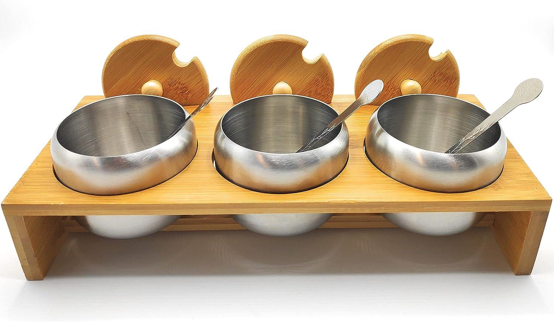 GET-GREEN Juego de 3 azucareros de acero inoxidable con tapa bambú, 3 cucharas y soporte estante de bambú, te, recipientes metálicos cocina, especias, servicio desayuno.