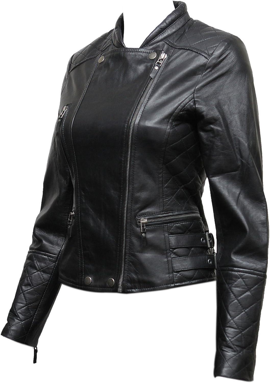 ABSY Women's Black Quilted Leather Biker Jacket