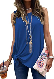 Allimy Women Summer Knot Front Tank Tops Casual Loose Sleeveless Basic Shirts S-2X