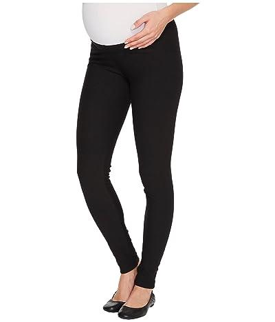 Plush Maternity Fleece-Lined Cotton Under-Belly Leggings (Black) Women