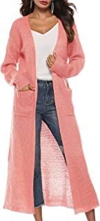 Womens Casual Long Sleeve Open Cardigan Sweater Maxi Knitted Slide Split Dusters with Pockets S - 3XL
