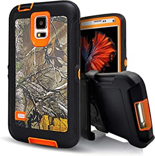 Samsung galaxy S5 Case,Vodico Rugged Heavy Duty Shockproof Dirtproof Military Grade Drop Scratch Resistant Hybrid Bumper Full Body Protective Case with Belt Clip Holster&Built-in Screen (Xtra Orange)
