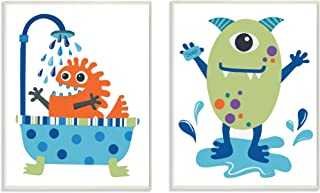 Stupell Home Décor Monsters Bathroom Buddies 2pc Wall Plaque Art Set, 10 x 0.5 x 15, Proudly Made in USA