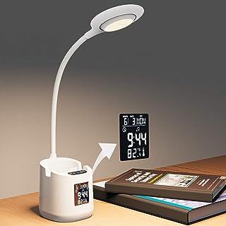 Lámpara de Escritorio Lámparas de Mesa de protección 0cular Lámpara de Aprendizaje LED con Soporte para Teléfono Móvil Lámpara de Mesilla Sensible al Tacto, Blanco