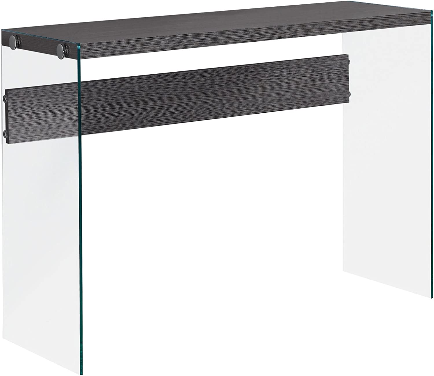 Monarch Specialties I 3222 Grey with Tempered Glass Console Table