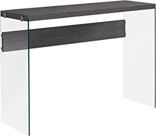 Monarch specialties , Console Sofa Table, Tempered Glass, Grey, 44