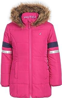 Nautica Girls Heavy Weight Long Length Jacket with Faux Fur Hood