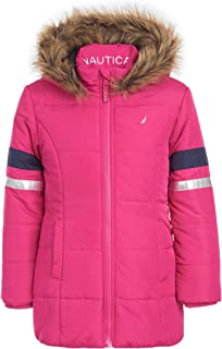 Girls Heavy Weight Long Length Jacket with Faux Fur Hood