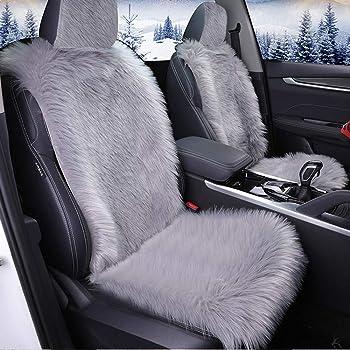 Fur Fluffy Luxury Sheep Skin Sideless Auto Lambskin Seat Covers Black, Two Packs Atenia Sheepskin Front Seat Covers