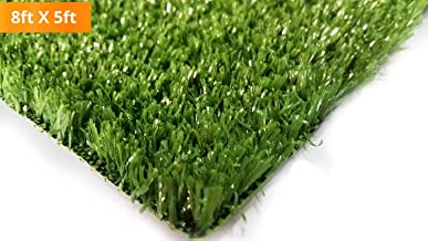PZG Artificial Grass Rug w/ Drainage Holes & Rubber Backing | 2-Tone Realistic Synthetic Grass Mat | Extra-Heavy & Soft Pet Turf | Lead-Free Fake Grass for Dogs or Outdoor Decor | Size: 6' x 4'