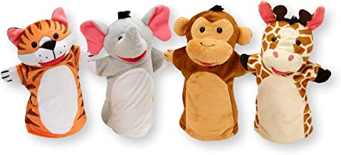 "Melissa & Doug Zoo Friends Hand Puppets, Puppet Sets, Elephant, Giraffe, Tiger, and Monkey, Soft Plush Material, Set of 4, 14"" H x 8.5"" W x 2"" L"