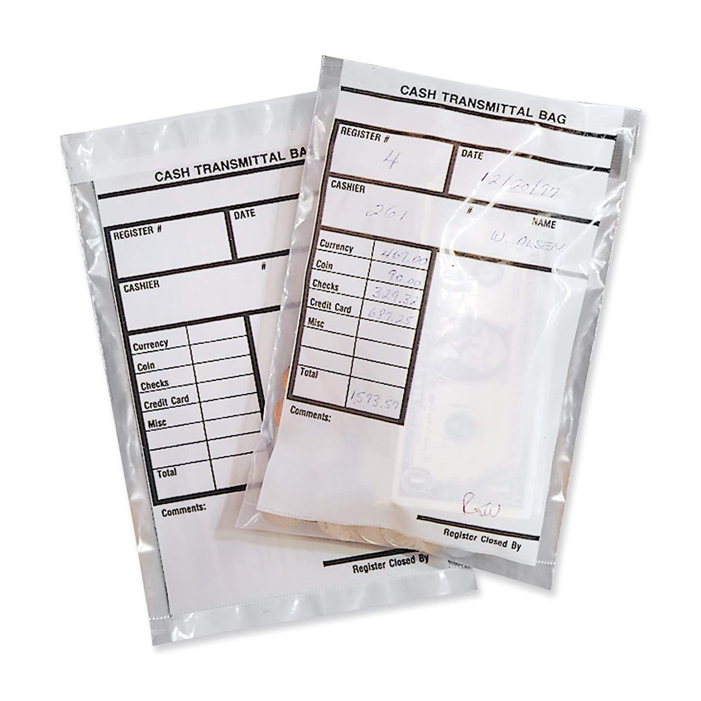 担当者水差しリーMMF Industries MMF236006920 Cash Transmittal Bag- 6in.x9in.- Clear