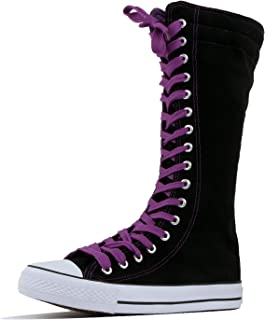 DW Women's Tall Canvas Lace up Knee High Sneakers