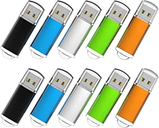 RAOYI 10PCS 16GB Bulk USB Flash Drives Thumb Drives Fold Storage Memory Stick USB 2.0 Jump Drive(5 Mixed Colors: Black Blu...
