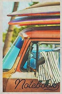 Notebook: Camper Van Conversion Chic Composition Book Journal Diary for Men, Women, Teen & Kids Vintage Retro Design Surf ...