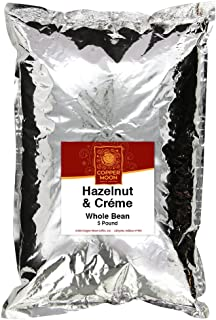 Copper Moon Whole Bean Coffee Hazelnut & Creme 5 Pound Whole Bean Medium Roast Small Batch Coffee Hazelnut Flavored Coffee with Rich Nutty Sweet and Buttery Finish 100% Arabica