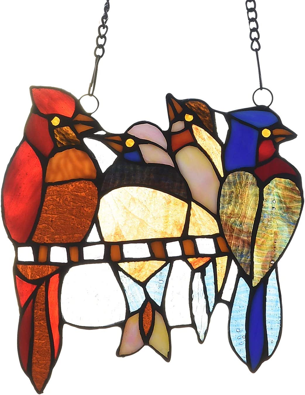 Capulina Stained Glass Window Hangings 4 Birds 9 Inches Wide Window Panels Handmade Tiffany Art Craft Sun Catcher