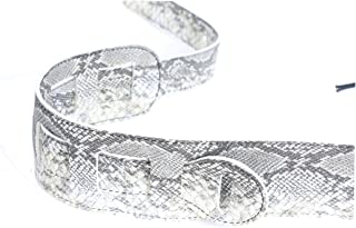 ZKHOECR 2.5 Inchs Snakeskin Personalized Unique Wide Guitar Strap with Tie,PU Leather Adjustable Length Vintage Shoulder Serpentine Straps Belt for Electric Acoustic Guitar Bass for Men Women Gray